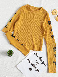 Graphic Open Long Sleeve Ribbed Tee - Bee Yellow S