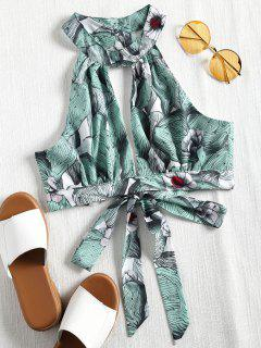 Printed Tie Back Halter Crop Top - Dark Sea Green L