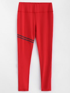 Striped High Waist Leggings - Red M