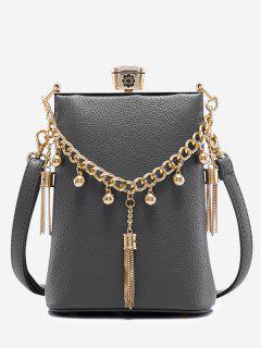 PU Leather Tassel Metal Detail Crossbody Bag - Gray