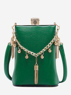 PU Leather Tassel Metal Detail Crossbody Bag - Green