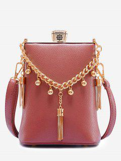 PU Leather Tassel Metal Detail Crossbody Bag - Bean Red