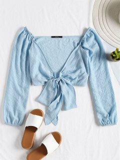Plunging Neck Tied Bowknot Crop Blouse - Light Blue M