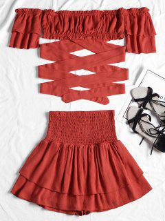 Off Shoulder Smocked Two Piece Skirt Set - Red L
