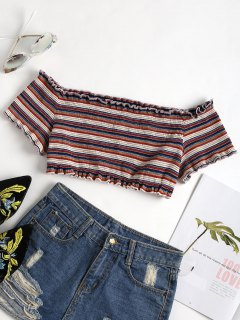 Striped Cropped Off The Shoulder Top - Multi L