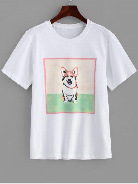 Camiseta con estampado de perro Longline - Blanco M Mobile