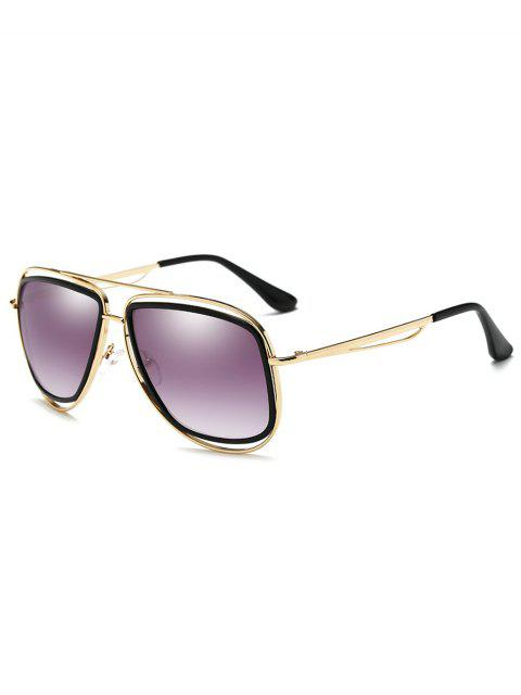 lady Metal Full Frame Crossbar Driver Sunglasses - GOLD FRAME + PURPLE LENS  Mobile