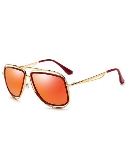 outfits Metal Full Frame Crossbar Driver Sunglasses - GOLD FRAME + RED LENS  Mobile