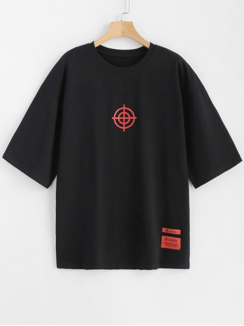 hot Letter Patchwork Printed Tee - BLACK M Mobile