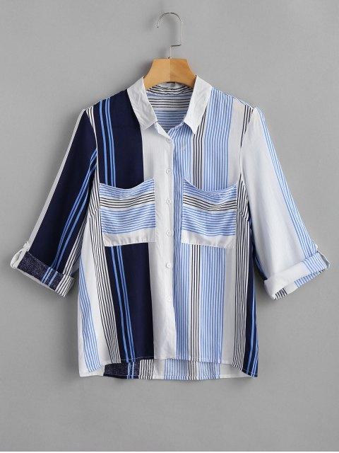 Camisa a rayas de bolsillo con parche - Multicolor S Mobile