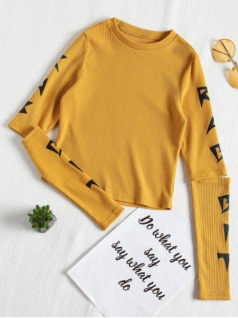affordable Graphic Open Long Sleeve Ribbed Tee - BEE YELLOW S Mobile