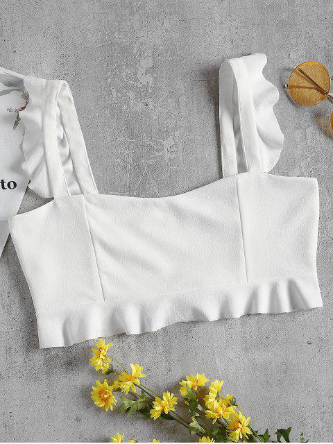 outfit Ruffled Crepe Crop Tank Top - WHITE S Mobile