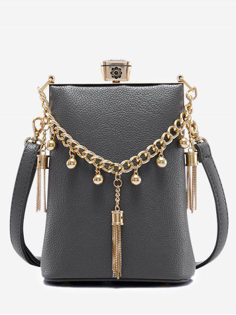 shops PU Leather Tassel Metal Detail Crossbody Bag - GRAY  Mobile