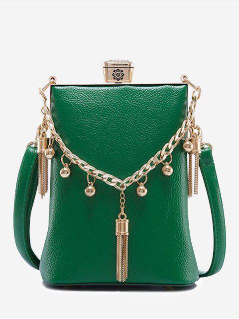 latest PU Leather Tassel Metal Detail Crossbody Bag - GREEN  Mobile