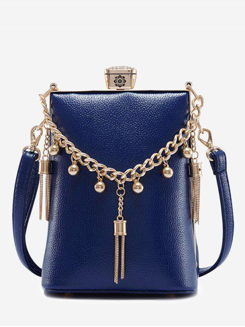 trendy PU Leather Tassel Metal Detail Crossbody Bag - BLUE  Mobile