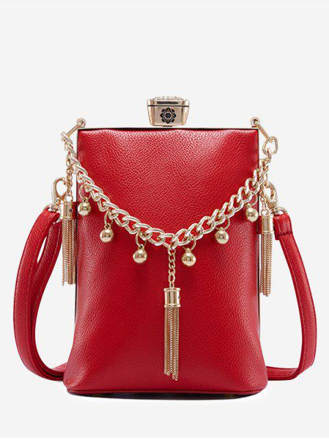fashion PU Leather Tassel Metal Detail Crossbody Bag - RED  Mobile