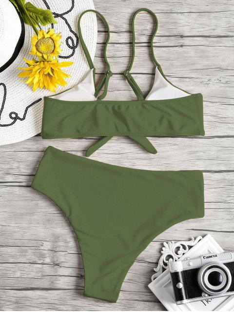 unique Knot Padded Bikini Set - HAZEL GREEN L Mobile