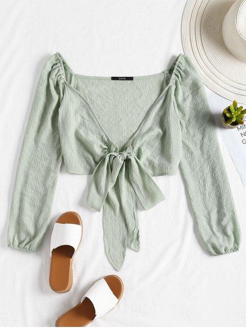 Blusa de cultivo de nudo bowknot - Verde Claro S Mobile