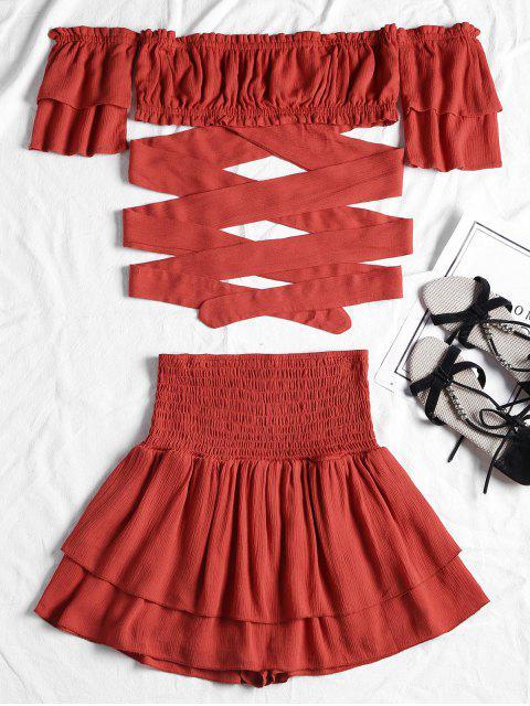 hot Off Shoulder Smocked Two Piece Skirt Set - RED M Mobile