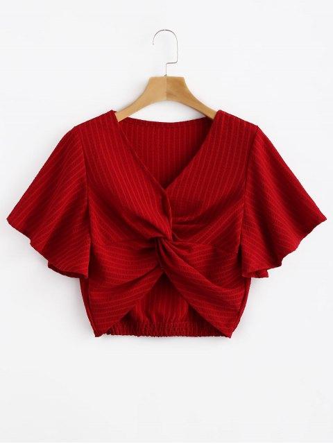 Top corto con manga de mariposa trenzada a rayas - Rojo S Mobile