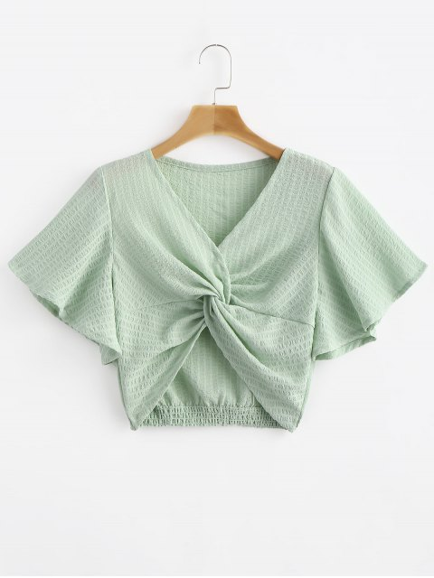 fashion Striped Twisted Butterfly Sleeve Crop Top - GREEN THUMB S Mobile