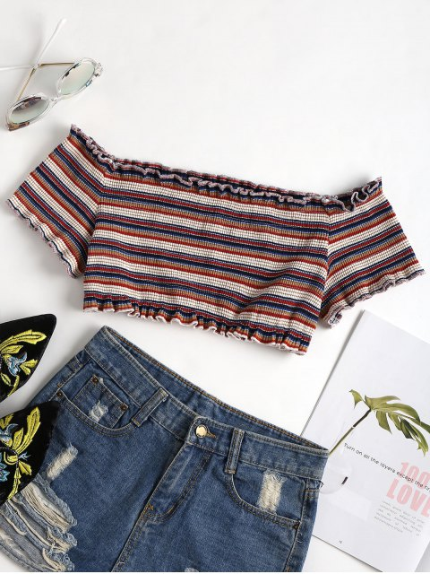 trendy Striped Cropped Off The Shoulder Top - MULTI S Mobile