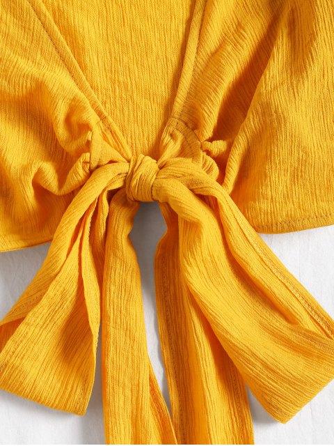 Blusa Recortada Cuello Escotado Moño Atado - Amarillo S Mobile