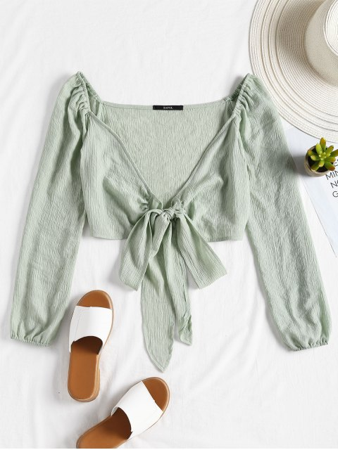 sale Plunging Neck Tied Bowknot Crop Blouse - LIGHT GREEN S Mobile