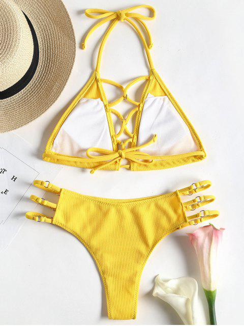 ladies Ribbed Strappy Swim Top with Ladder Cut Bottoms - YELLOW S Mobile