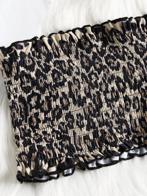 Bikini Top con Estampado de Leopardo y Parte Inferior de Tanga - Patrón de Estampado Leopardo L Mobile