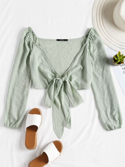 Plunging Neck Tied Bowknot Crop Blouse - Light Green M