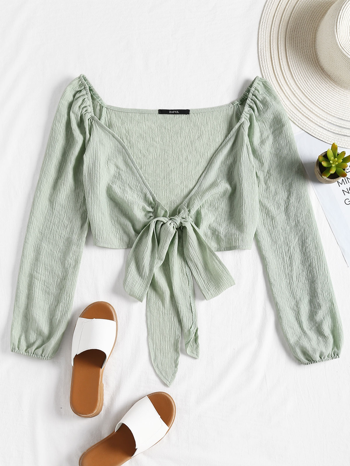 Plunging Neck Tied Bowknot Crop Blouse thumbnail