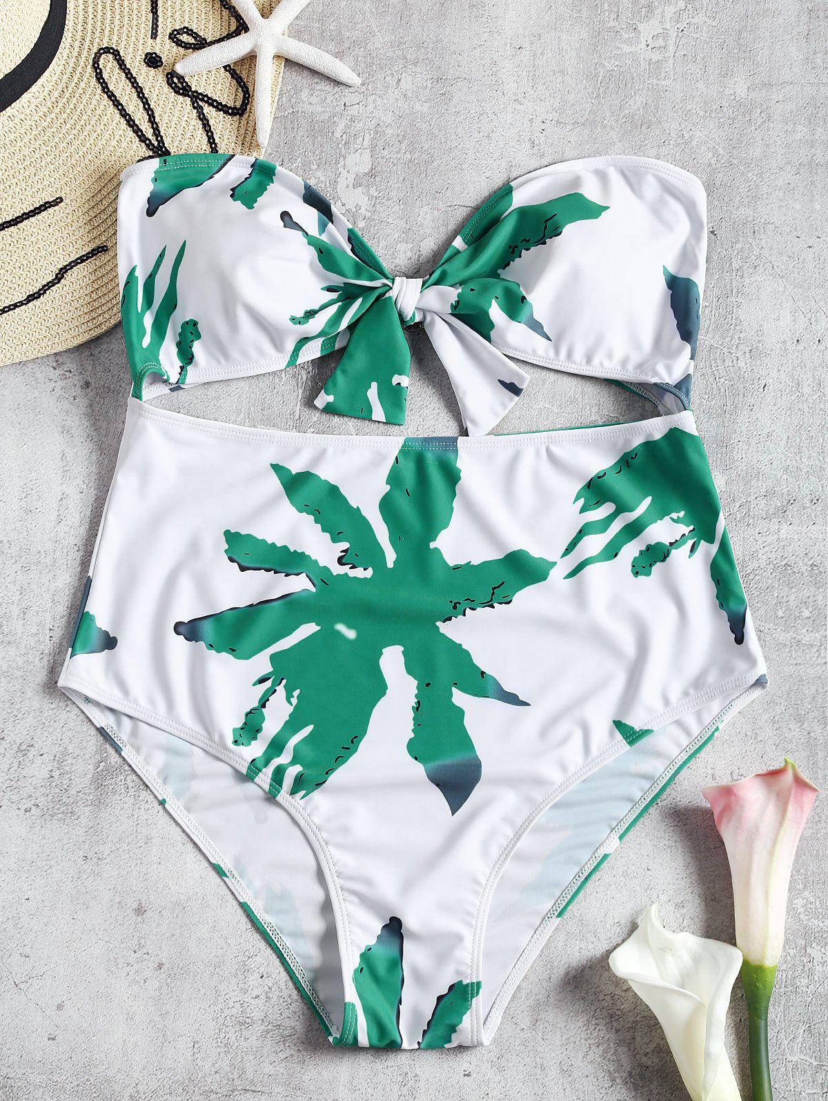 Bandeau Bow Cut Out Leaf Plus Size Swimsuit 259105801