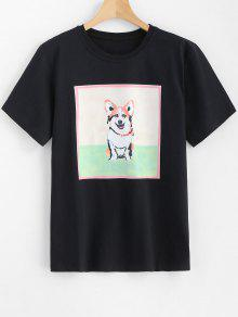 Perro Con Camiseta M De Estampado Negro Longline 8tPPwOqd