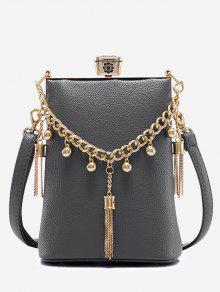 حقيبة من الجلد مزينة بشراشيب - رمادي