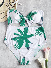 القوس العصابة قص زائد حجم ملابس السباحة - أبيض Xl