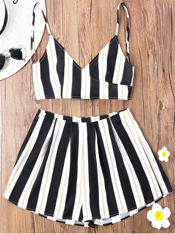 latest Striped Camisole with Wide Leg Shorts - BLACK XL