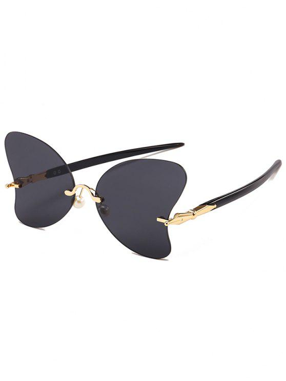 Anti-UV-randlose Perle Schmetterling Sonnenbrille - Gold+Grau