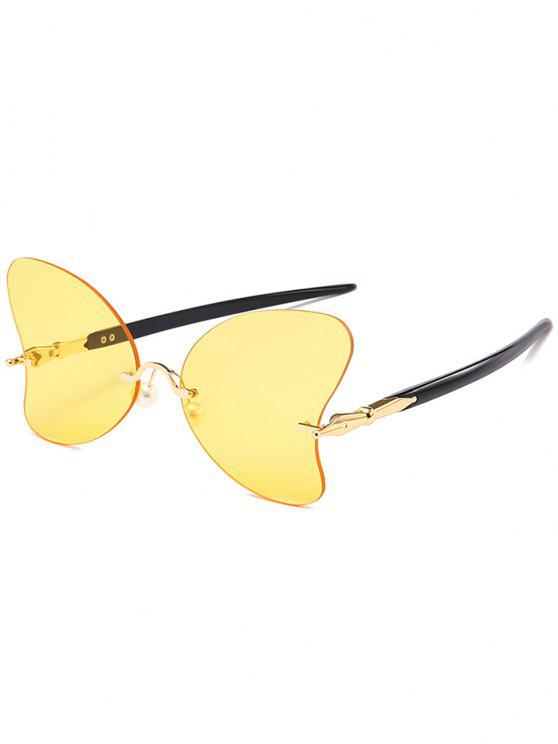 unique Anti UV Rimless Pearl Butterfly Sunglasses - GOLD FRAME + ORANGE LENS