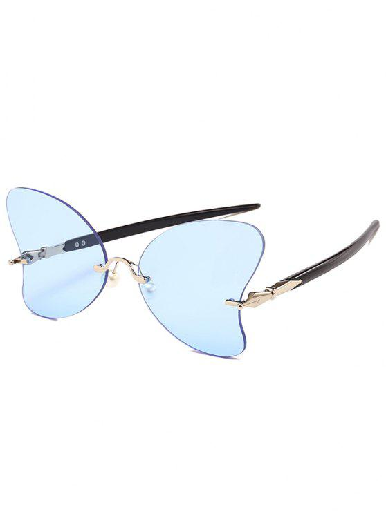 Lunettes Solaires en Forme de Papillon Anti-UV Sans Monture avec Perle - Bleu clair
