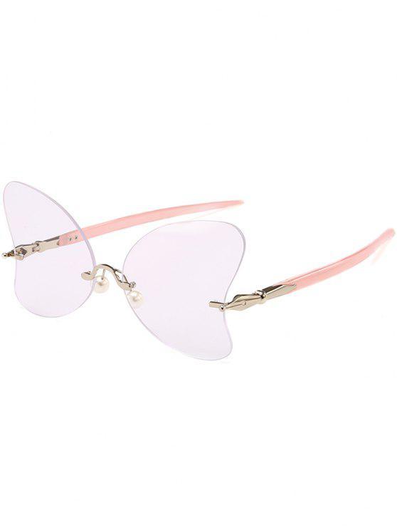 Occhiali Da Sole A Farfalla Con Perle Non Cerchiati Anti UV - Rosa + Bianco