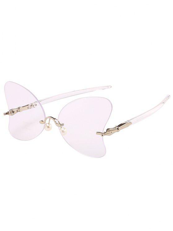 Lunettes Solaires en Forme de Papillon Anti-UV Sans Monture avec Perle - Transparent