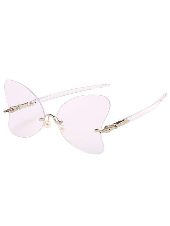 Anti UV Rimless Pearl Butterfly Óculos de sol - Transparente