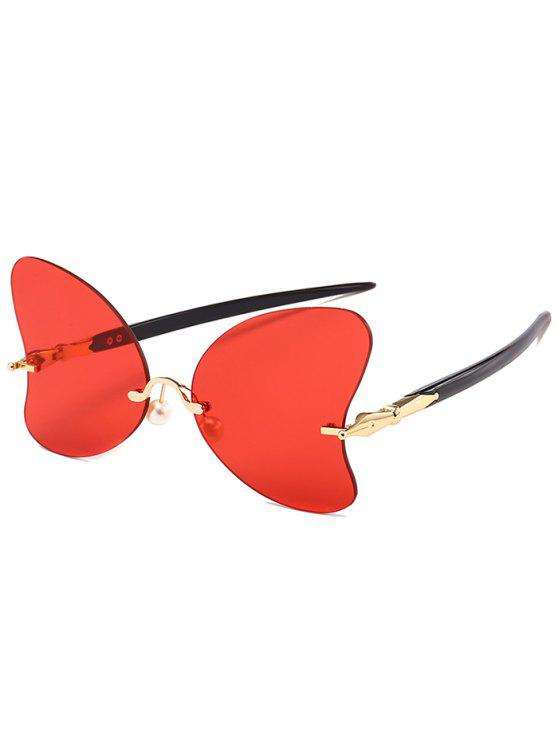 best Anti UV Rimless Pearl Butterfly Sunglasses - BRIGHT RED