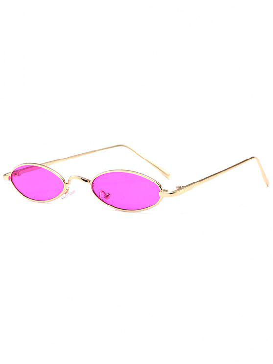 outfits Unique Metal Full Frame Oval Sunglasses - PURPLISH RED