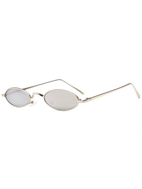 trendy Unique Metal Full Frame Oval Sunglasses - REFLECTIVE WHITE COLOR