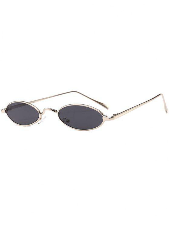 unique Unique Metal Full Frame Oval Sunglasses - SILVER FRAME+GREY LENS