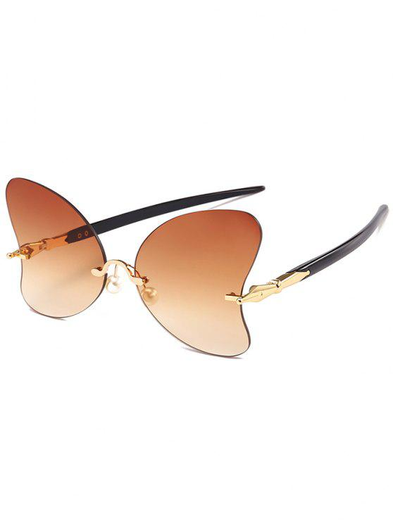unique Anti UV Rimless Pearl Butterfly Sunglasses - TEA-COLORED