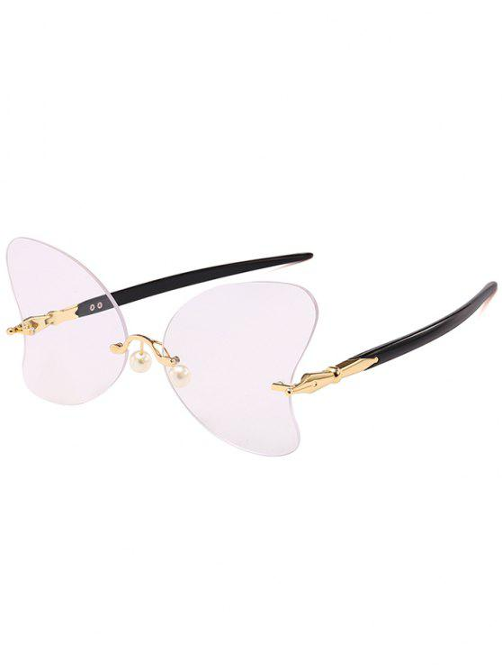 affordable Anti UV Rimless Pearl Butterfly Sunglasses - BLACK WHITE LIGHT