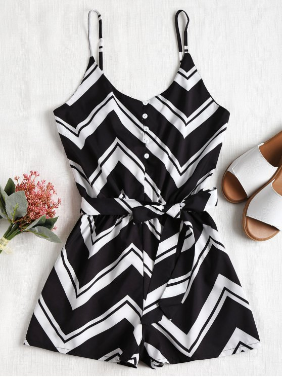 trendy Buttoned Zigzag Print Cami Romper - BLACK XL